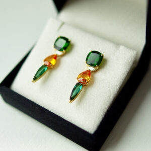 Chrome Diopside, Yellow Sapphire, Tourmaline earrings