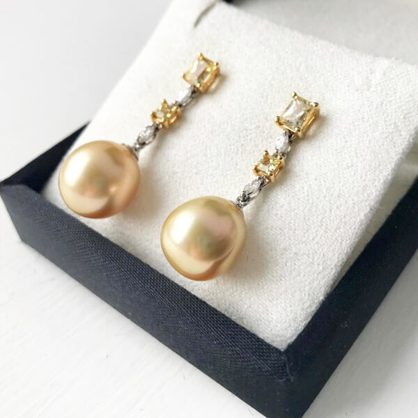South Sea & Yellow Sapphire Earrings
