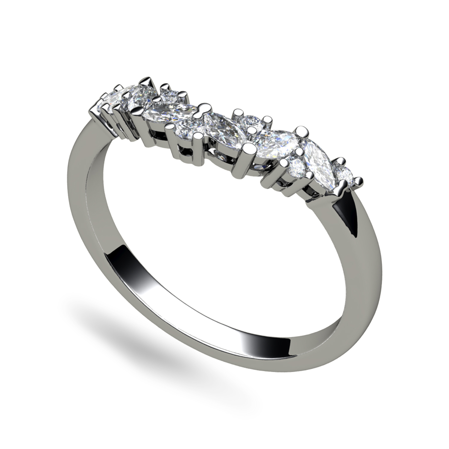 Alternating Marquise Cut Diamond Fitted Wedding Ring