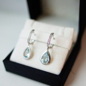 Pear Cut Aquamarine * Diamond Bail Earrings