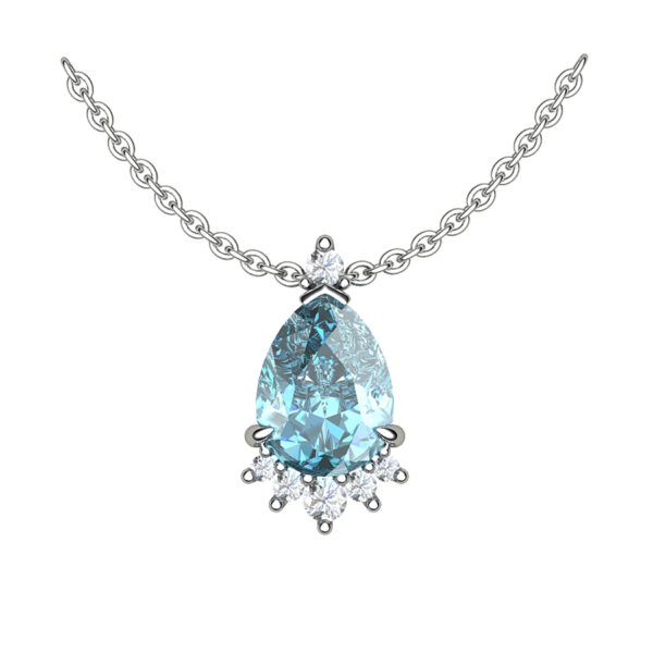 Celeste Blue Topaz White Gold Necklace