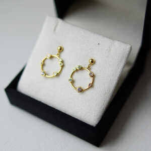 Bubble Drop Earrings Yellow Gold 2