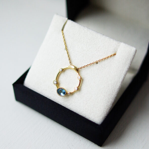 Topaz And Diamond Bubble Necklace