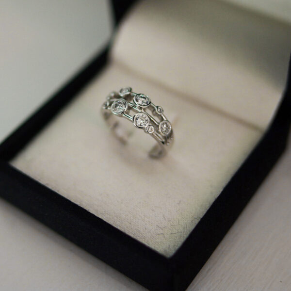 Diamond Bubble Ring Platinum Three Row