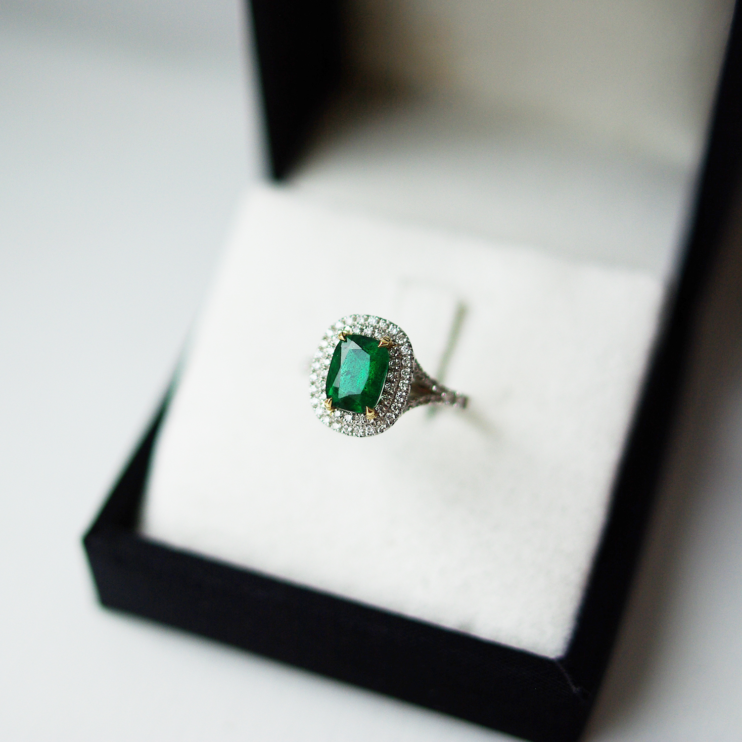 Cushion Emerald Cluster Ring Double Halo Split Shoulders