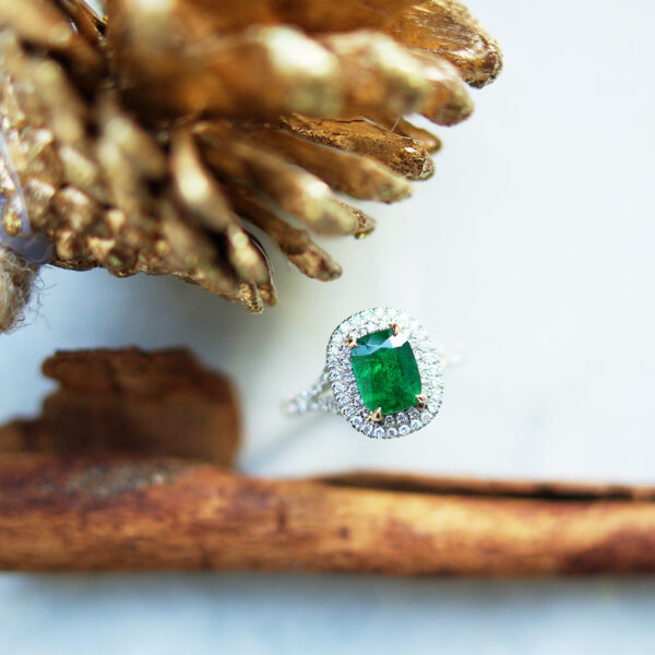 Cushion Emerald Cluster Ring Double Halo Split Shoulders Christmas