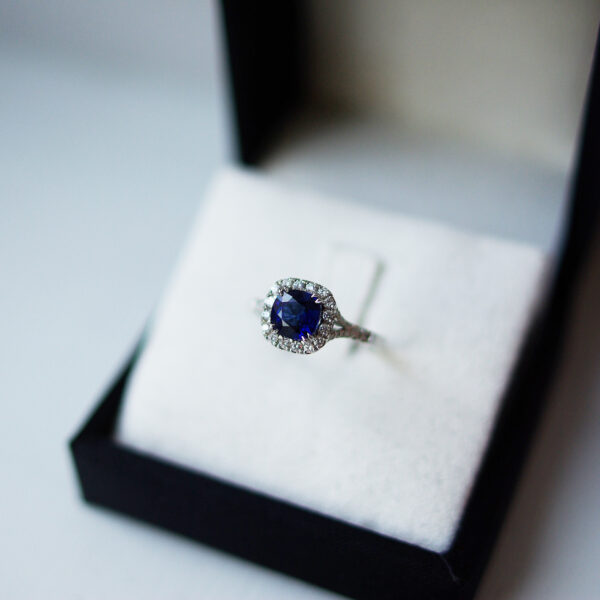 Cushion Sapphire French Cut Down Halo & Split Diamond Set Shoulders Ring