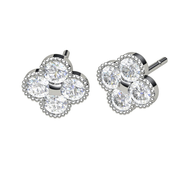 Quatrefoil Studs White Gold & Diamonds