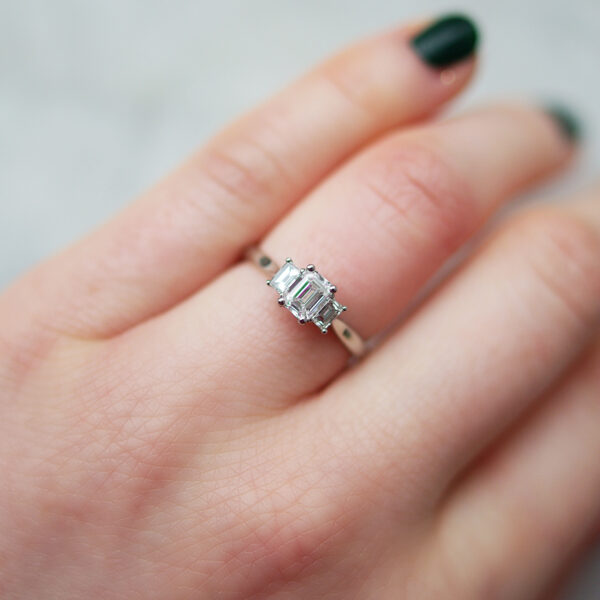 Trilogy Engagement Ring With Three Emerald Cut Diamonds