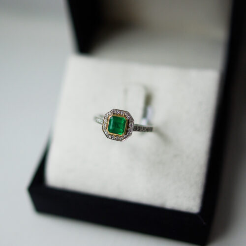 Emerald Cut Square Emerald Channel Pave Halo And Shoulders
