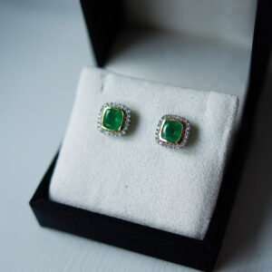 Cushion Emerald Cluster Studs