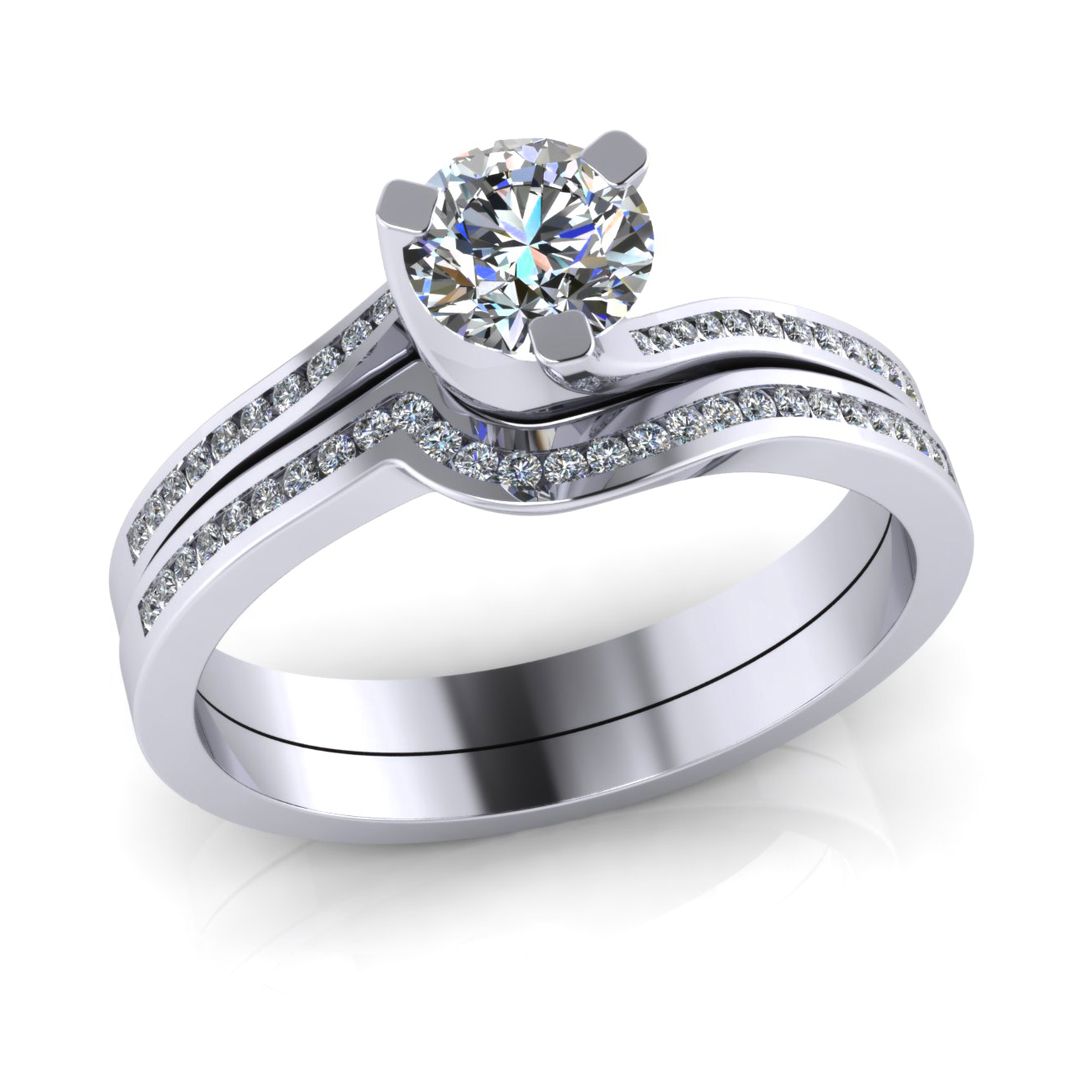 Flowing Channel Set Diamond Fitted Wedding Ring