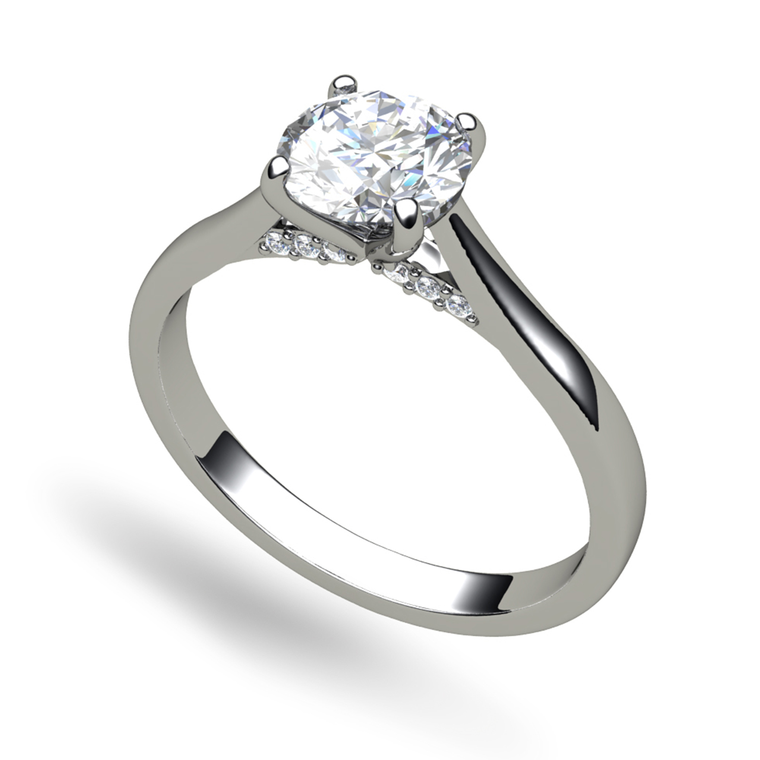 Oval Brilliant Cut Diamond Engagement Ring Halo And Split Shoulders