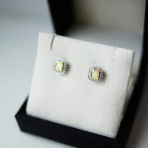 Greenish Yellow Cushion Cut Fancy Diamonds Halo Studs Boxed