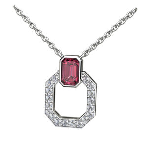 Hexagonal Diamond Set With Emerald Cut Ruby Topper