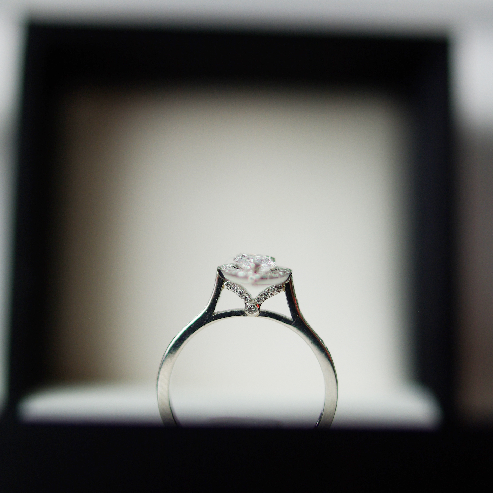 Pear Diamond And Set Gull Wing Platinum Cluster Engagement Ring