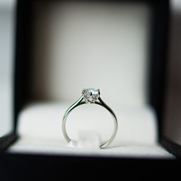 Six Claw Solitaire Round Brilliant Cut Diamond With Knife Edge Shank In Platinum