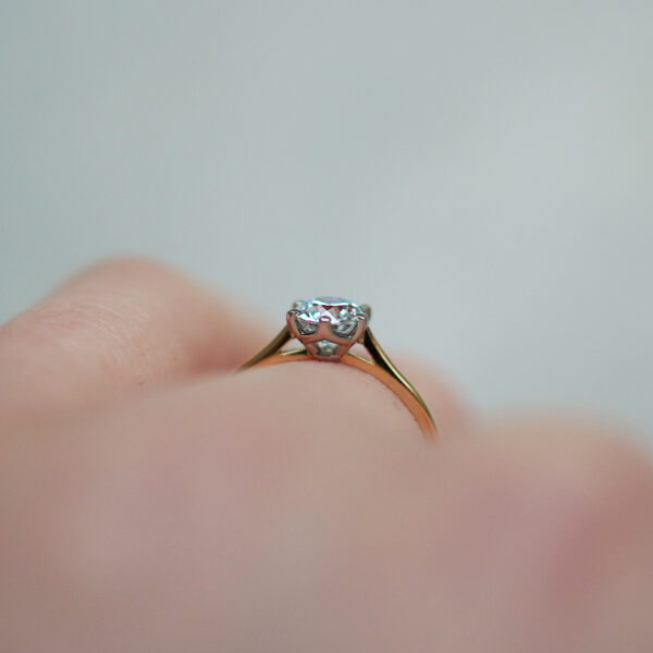 Six Claw Solitaire Round Brilliant Cut Diamond With Knife Edge Shank In Two Tone Gold