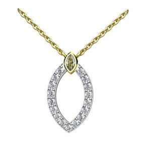 Marquise Diamond Set Halo With A Marquise Cut Yellow Diamond Topper In White & Yellow