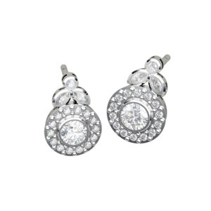 Marquise and Round Brilliant Cut Diamond White Earrings