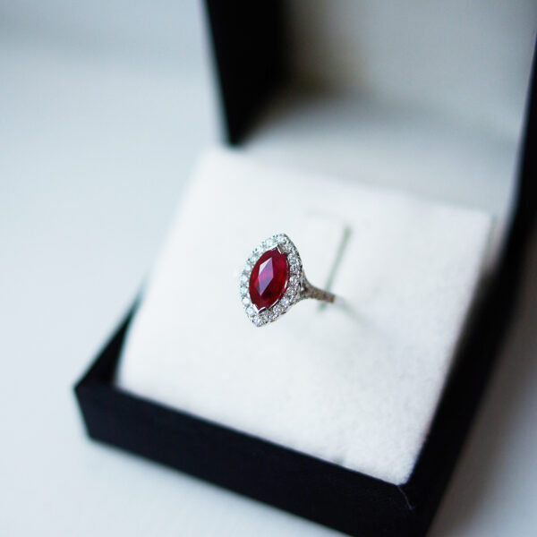 Marquise Ruby, Halo Diamond Set Split Shoulder