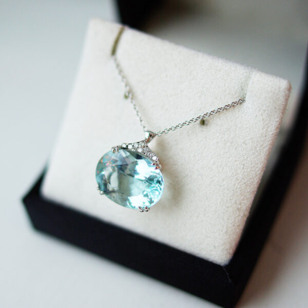 Oval Cut Aquamarine with Diamond Set Bail Necklace