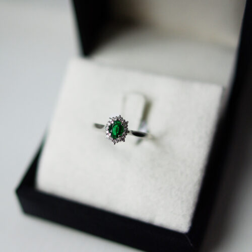 Oval Emerald Cut With Diamond Halo Ring