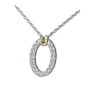 Oval Diamond Set Halo With A Round Brilliant Cut Yellow Diamond Topper In White