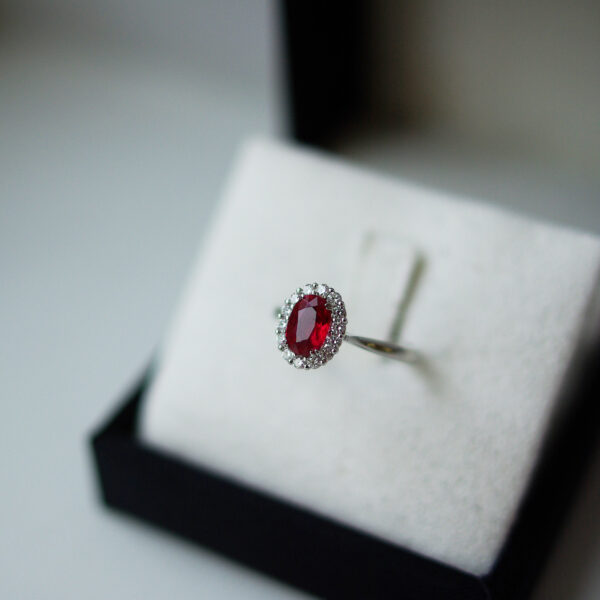 Oval Ruby Cluster Jasmine Ring Boxed