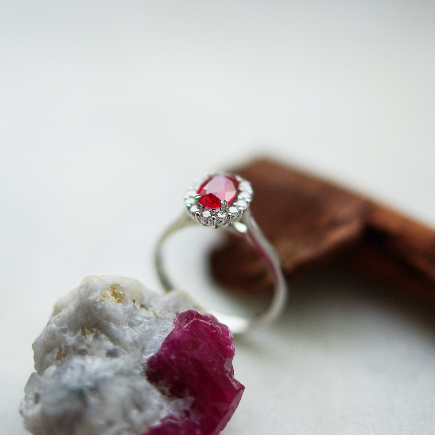 Oval Ruby Cluster Jasmine Ring