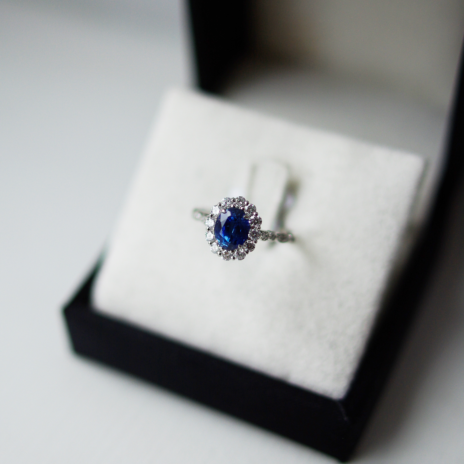 Oval Sapphire Diamond Halo Illusion Marquise Diamond Shoulders Cluster Ring