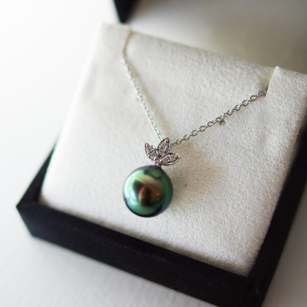 Peacock Tahitian Pearl With Diamond Topper Necklace