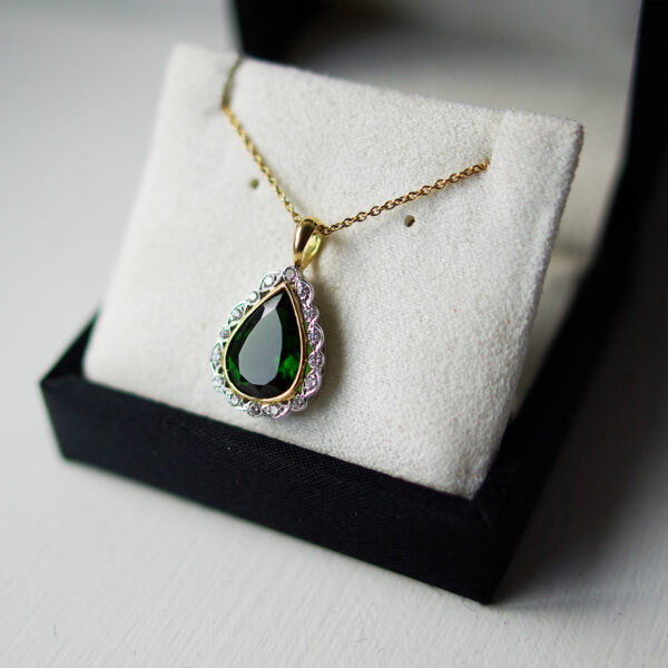 Pear Chrome Diopside Necklace