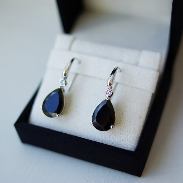 Pear Cut Black Onyx And Diamond