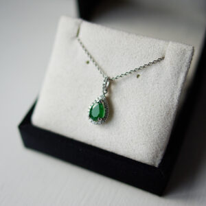 Pear Emerald, Halo And Diamond Set Bail