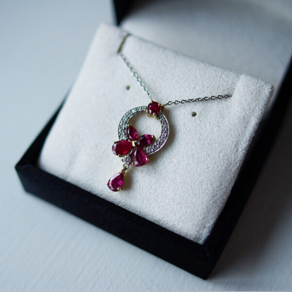 Pear And Ruby Flower Drop Pendant