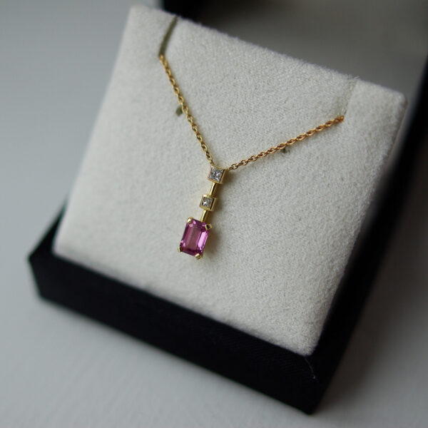 Pink Sapphire And Diamond Drop Necklaxe