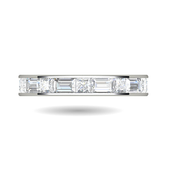 Platinum Channel Set Ring With Baguette and Princess Cut Diamonds