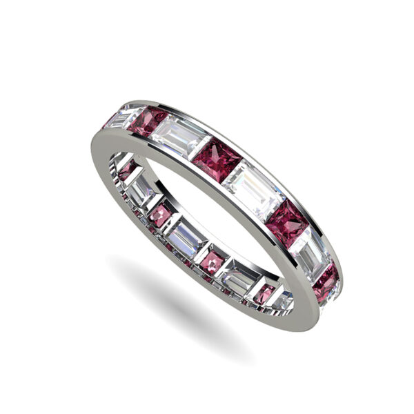 Platinum Channel Set Ring With Baguette and Princess Cut Diamonds and Ruby