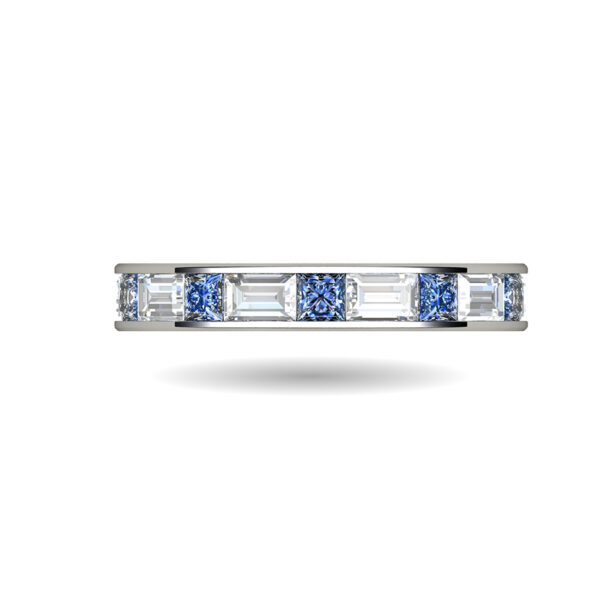 Platinum Channel Set Ring With Baguette and Princess Cut Diamonds and Sapphires