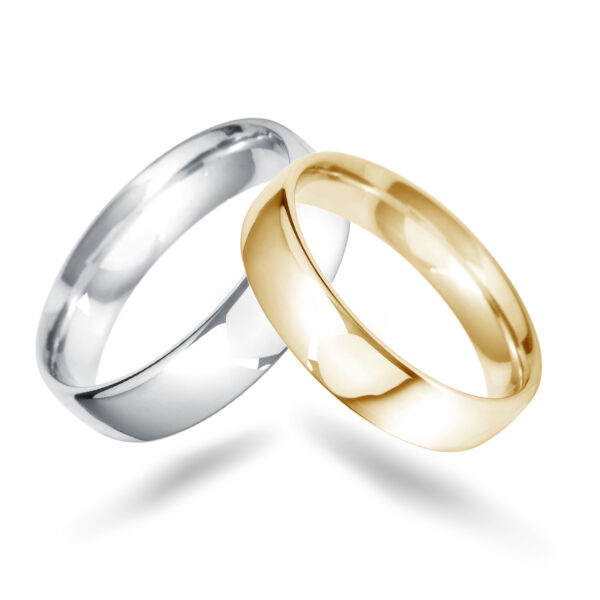 Platinum And Rose Gold Gents Wedding Bands
