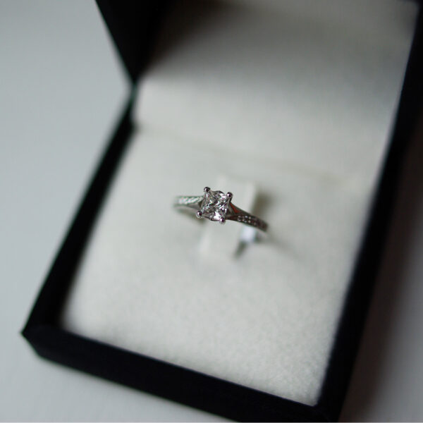 Princess Cut Diamond Solitaire Susie Ring With Diamond Set Shoulders