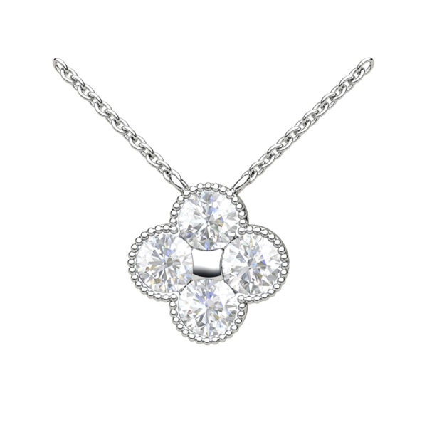 Platinum Quatrefoil Necklace With Diamond