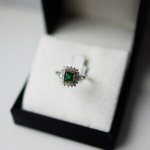 Princess Cut Emerald In an Art Deco Style Ring