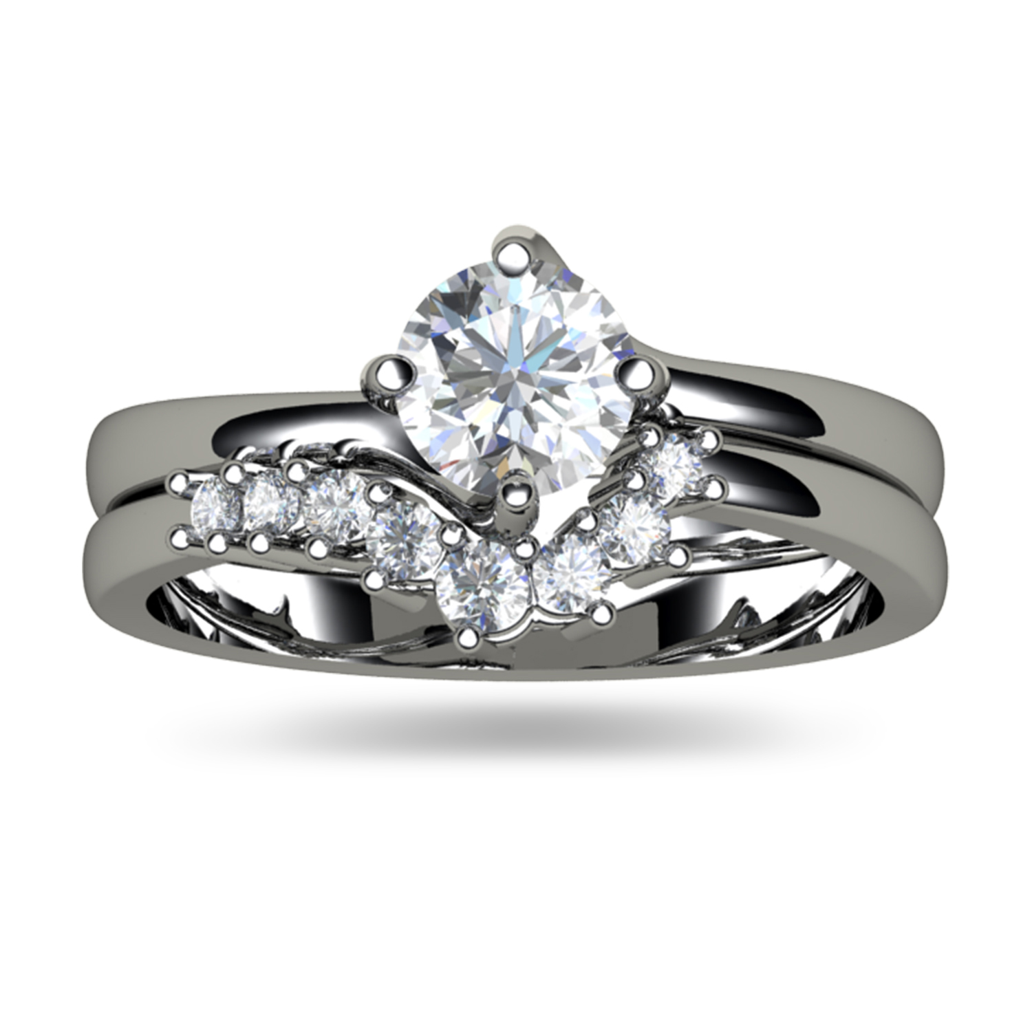 Round Brilliant Cut Diamond Half Set Fitted Wedding Ring And Engagement Ring