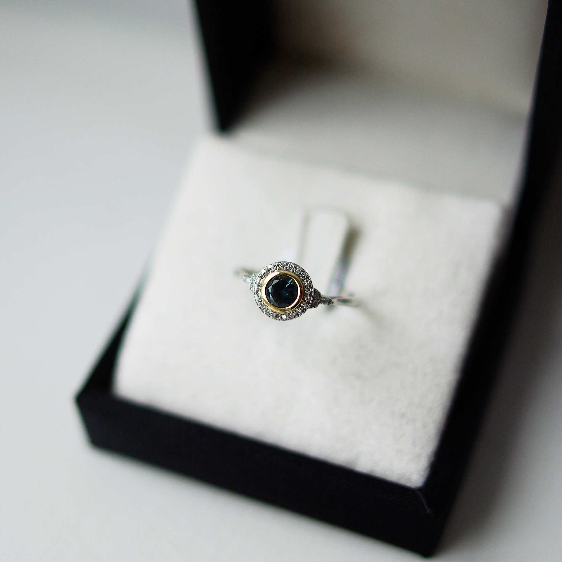 Round Brilliant Cut Teal Sapphire Diamond Halo And Shoulders Platinum Ring