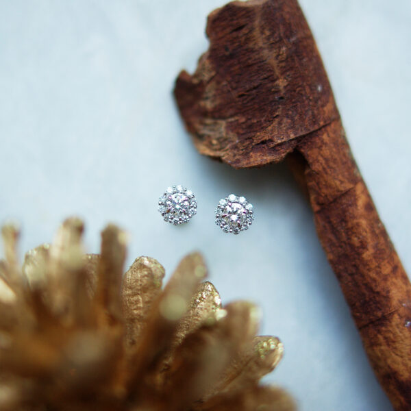 Round Brilliant Cut Diamond Cluster Studs Christmas