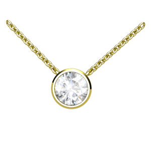 Round Brilliant Cut Diamond Yellow Gold Pendant