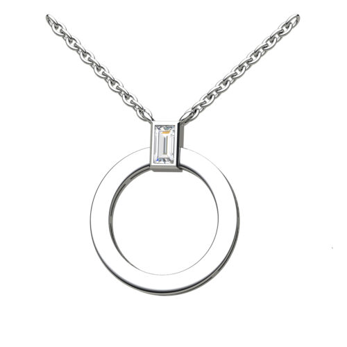 Round Disc With A Baguette Cut Diamond Topper In White