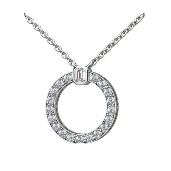 Round Halo Of Diamonds With An Emerald Cut Diamond Topper In White